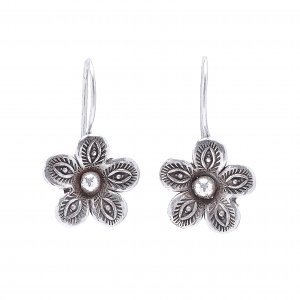New Collection Evil Eye Floral Earrings Bohemian Oxidized Silver Hook Jewelry