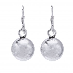 Handmade Oxidised Silver Round Bead Ball Drop Hook Earrings Fashion Jewelry
