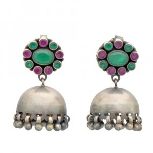 Tribal Oxidised Silver Dyed Corundum Stone Drop Earrings Womens Fashion Jewelry