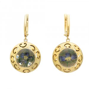 24k Yellow Gold Plated Sterling Silver Natural Floral Round Drop Huggie Earrings