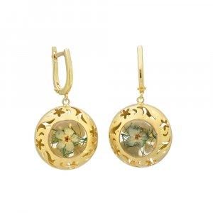 24k Yellow Gold Plated Floral Star Round Huggie Earrings Sterling Silver Jewelry