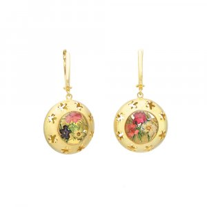 New Design Yellow Gold Plated Silver Star Printed Floral Round Huggie Earrings