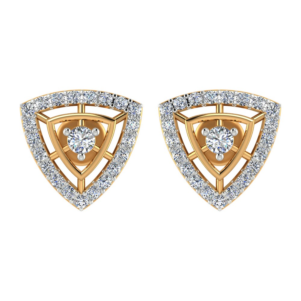 0.56 Cts Certified Diamond 14k Yellow Gold Stud Earring Girls Free Gift Included