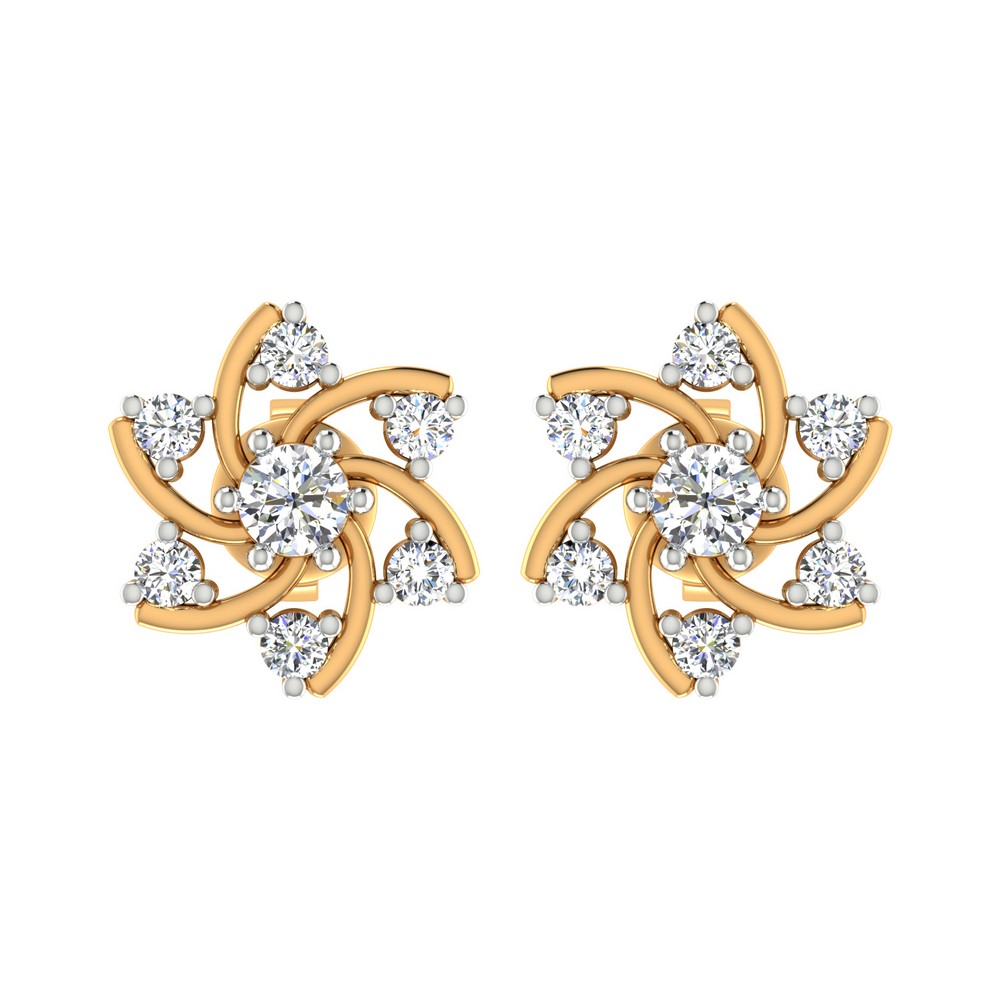 0.54 Cts Certified IJ/SI Diamond 14k Yellow Solid Gold Stud Earring