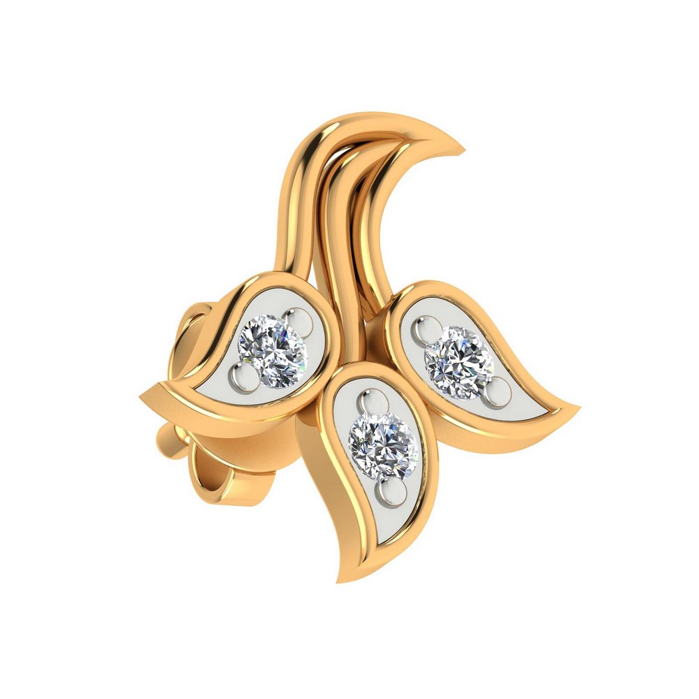 14k Yellow Gold 0.23 Cts Certified Diamond Stud Stylish Floral Earring Party Wear