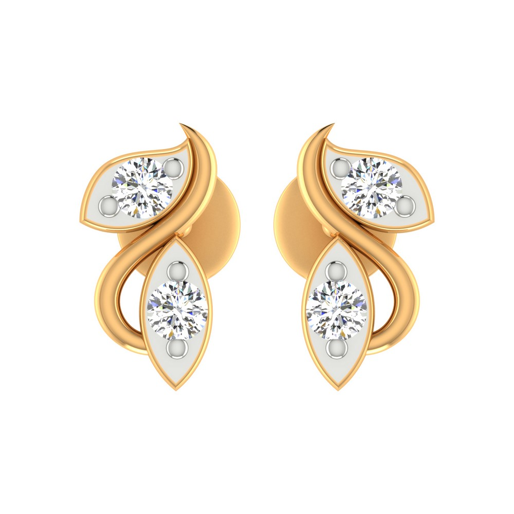 0.19 Cts Certified Genuine Diamond 14k Yellow Solid Gold Stud Earring Wedding