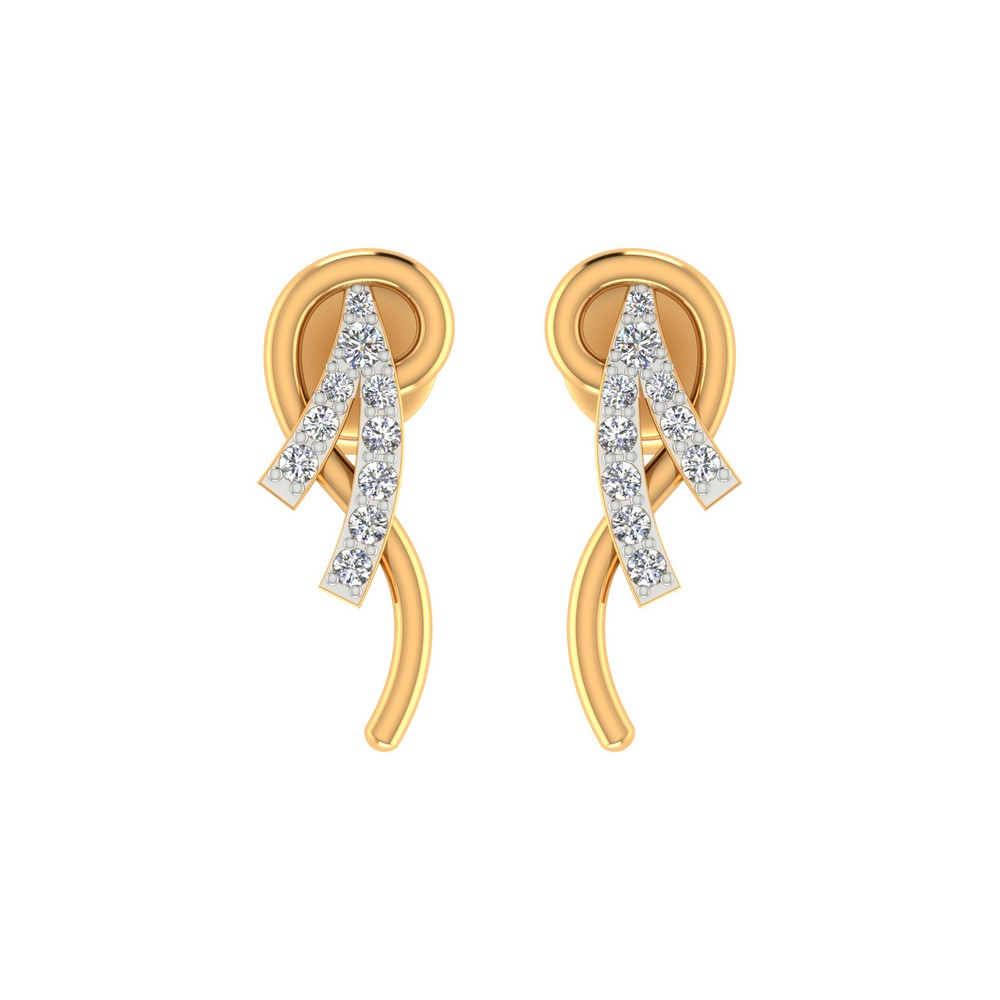 0.12 Cts Certified Diamond 14k Yellow Solid Gold Stud Stylish Earring Free Gift