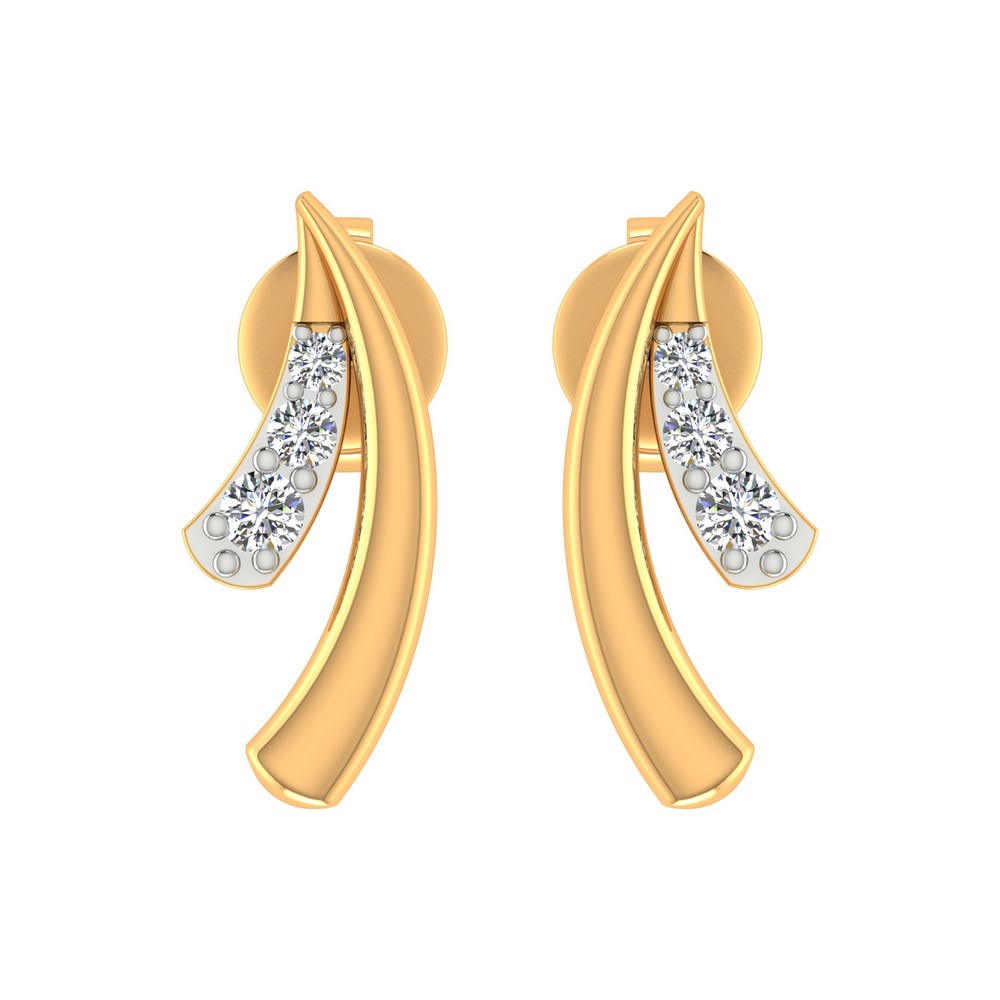 14k Yellow Gold 0.10 Cts Certified IJ/SI Diamond Stud Leaf Stylish Earring Gift