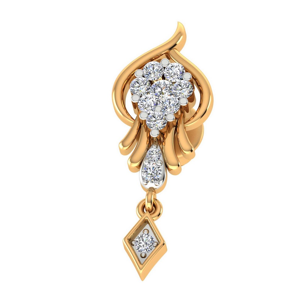 0.25 Cts Certified Natural Diamond 14k Yellow Solid Gold Drop Designer Earring
