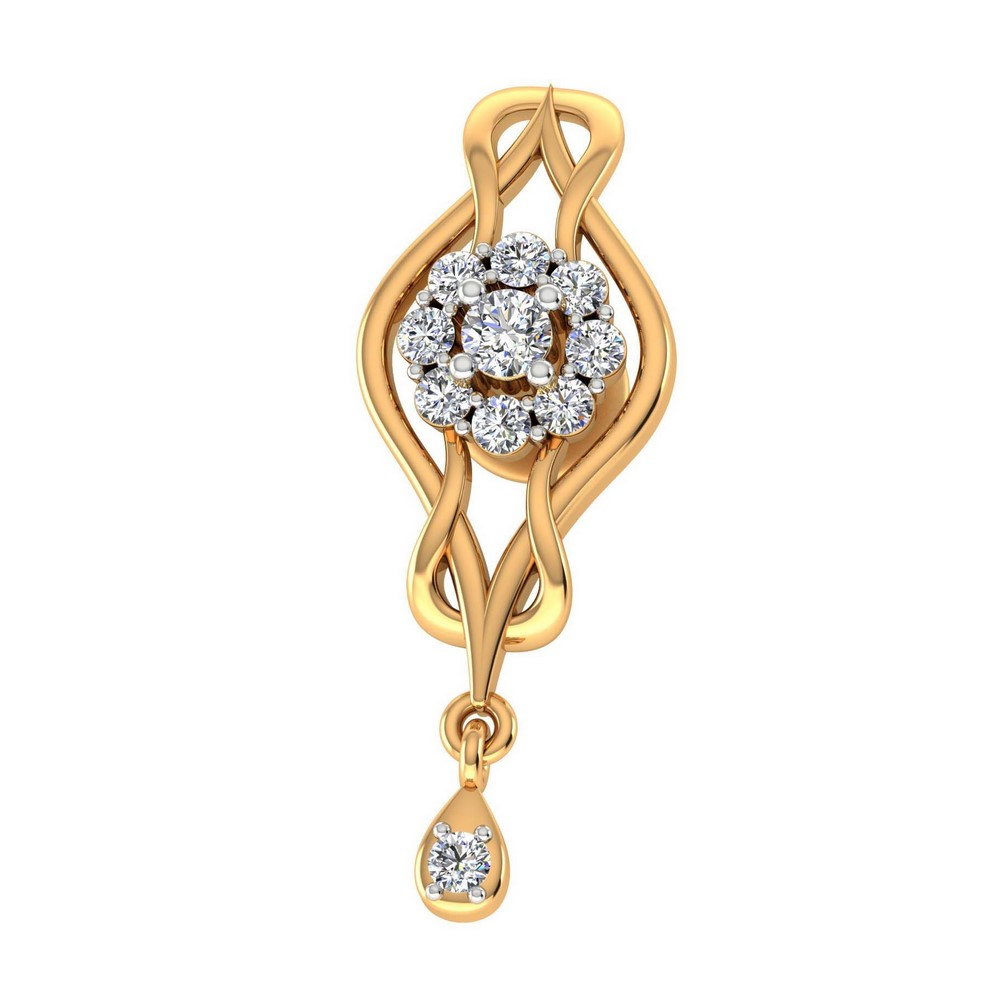 0.37 Cts Certified 100% Real Diamond 14k Yellow Hallmarked Gold Earring Party