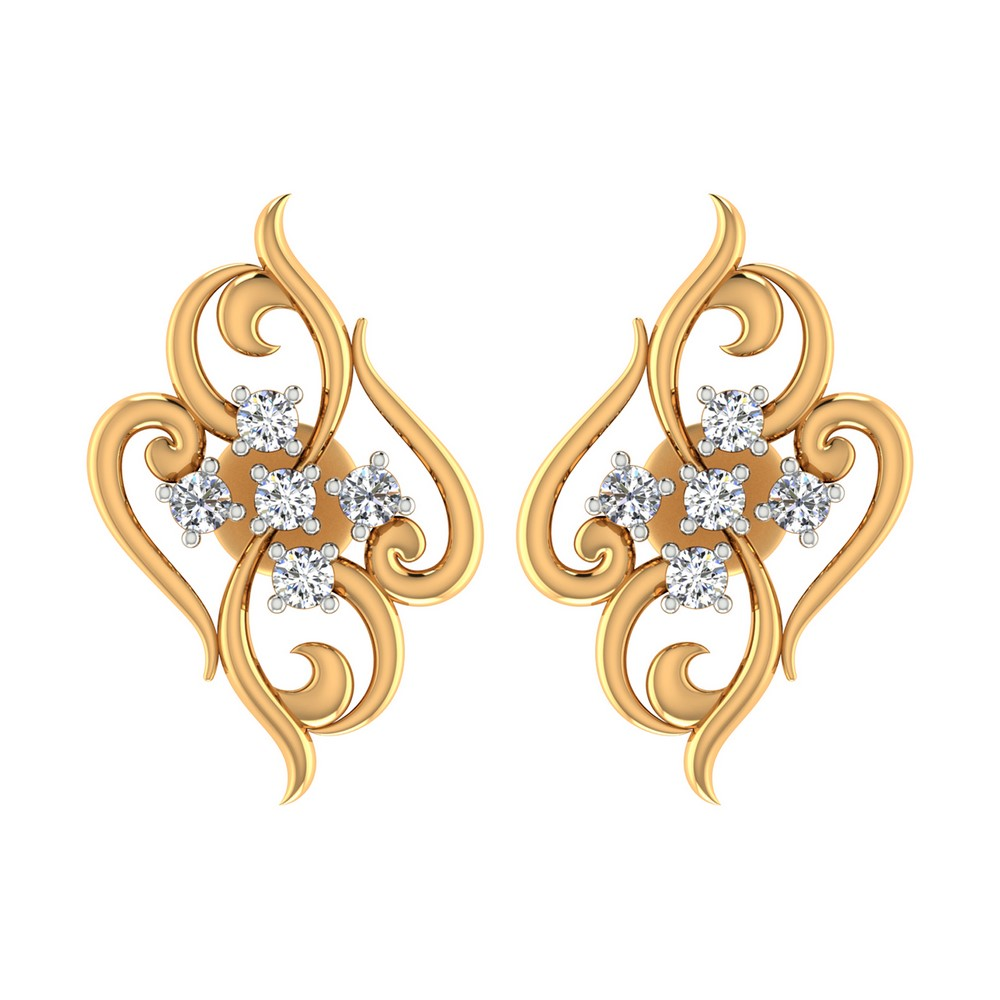 0.15 Cts Certified Diamond 14k Yellow Gold Stud Designer Stylish Earring Wedding