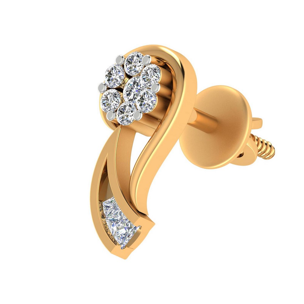 0.22 Cts Natural Certified IJ/SI Diamond 14k Yellow Gold Stud Earring Giftable
