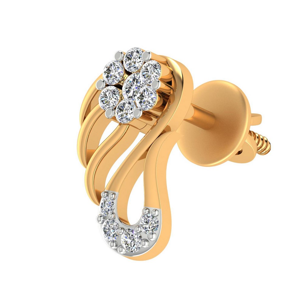 0.21 Cts Certified Diamond 14k Yellow Solid Real Gold Stud Earring Partywear