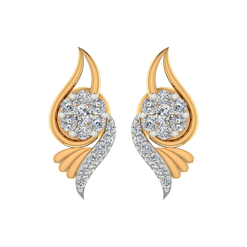 0.22 Cts Certified 100% Real Diamond Stud Earring 14k Yellow Gold Wedding Party