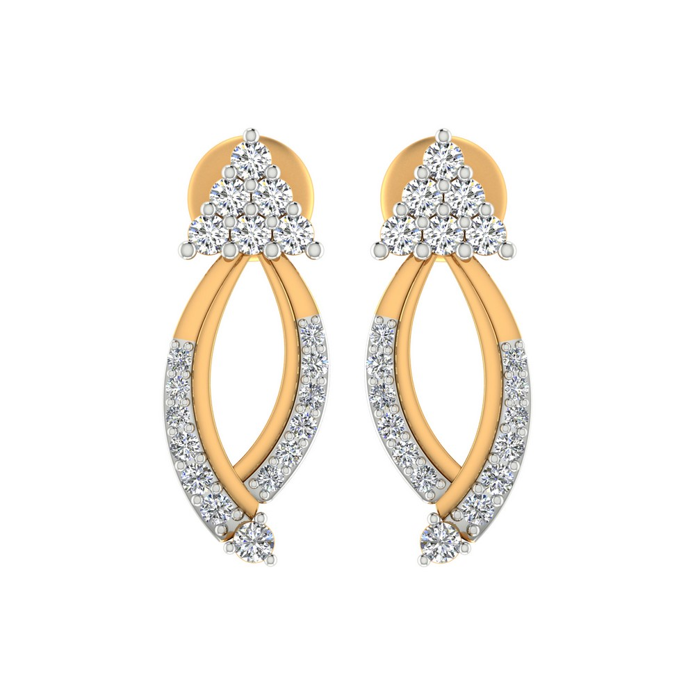0.34 Cts Certified Diamond Stud Earring 14k Yellow Hallmarked Gold Partywear