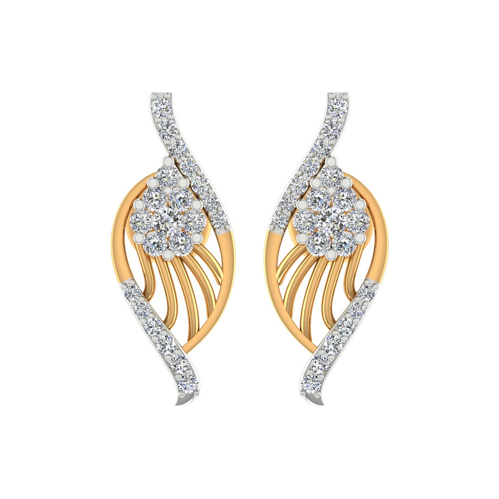 0.43 Cts Certified 100% Genuine Diamond Stud Earring 14k Yellow Gold Party Gift