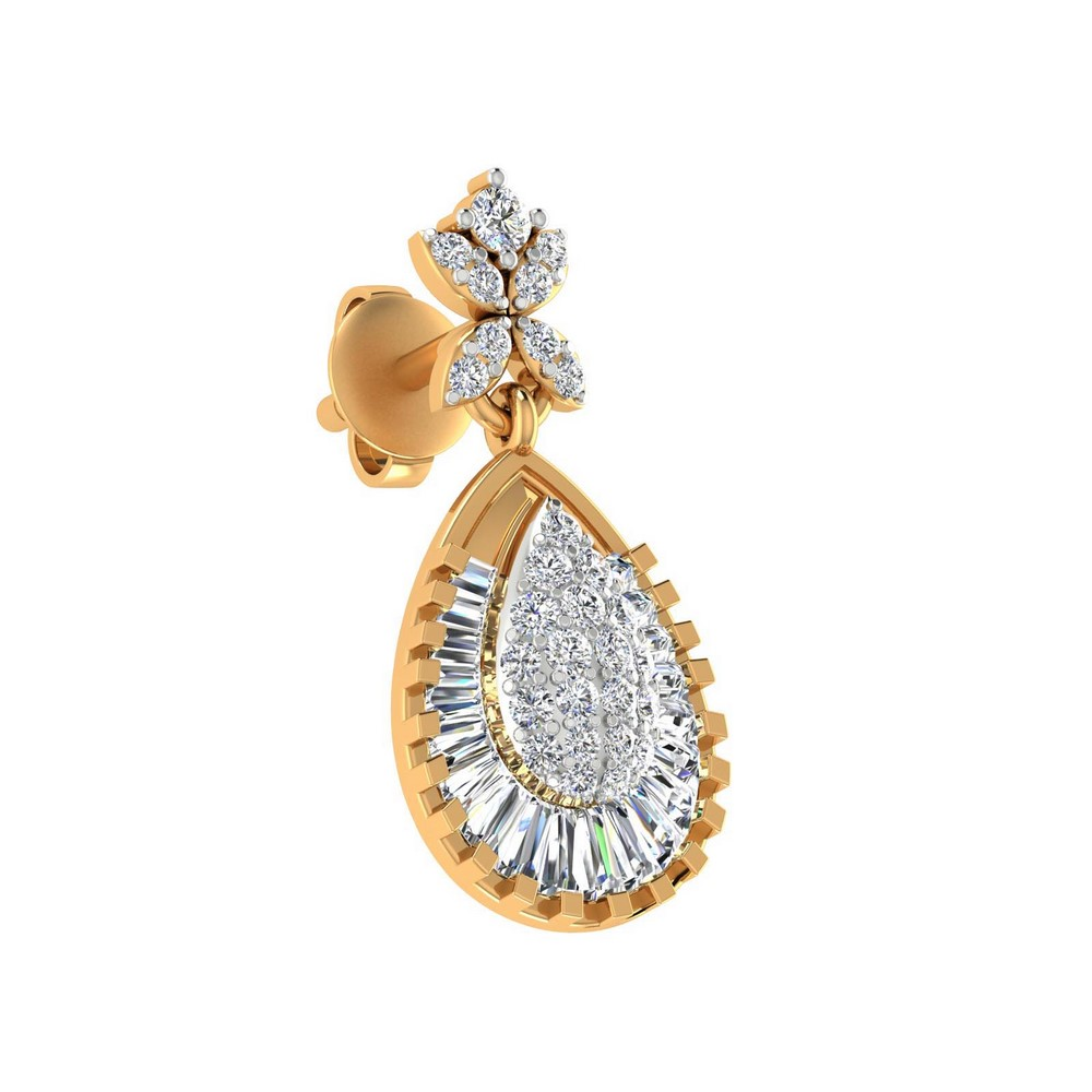 1.43Ct Certified 100% Genuine Diamond 14k Yellow Real Gold Jewelry Stud Earring