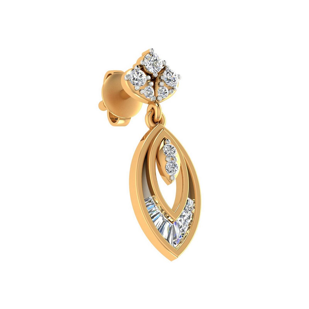 0.46Ct Certified Real Diamond 14k Yellow Gold Jewelry Stud Brand New Earring
