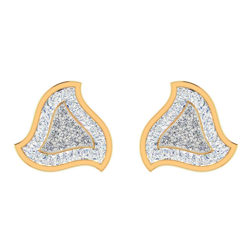 0.54 Cts Certified Natural Diamond 14k Yellow Gold Jewelry Stud Earring Wedding