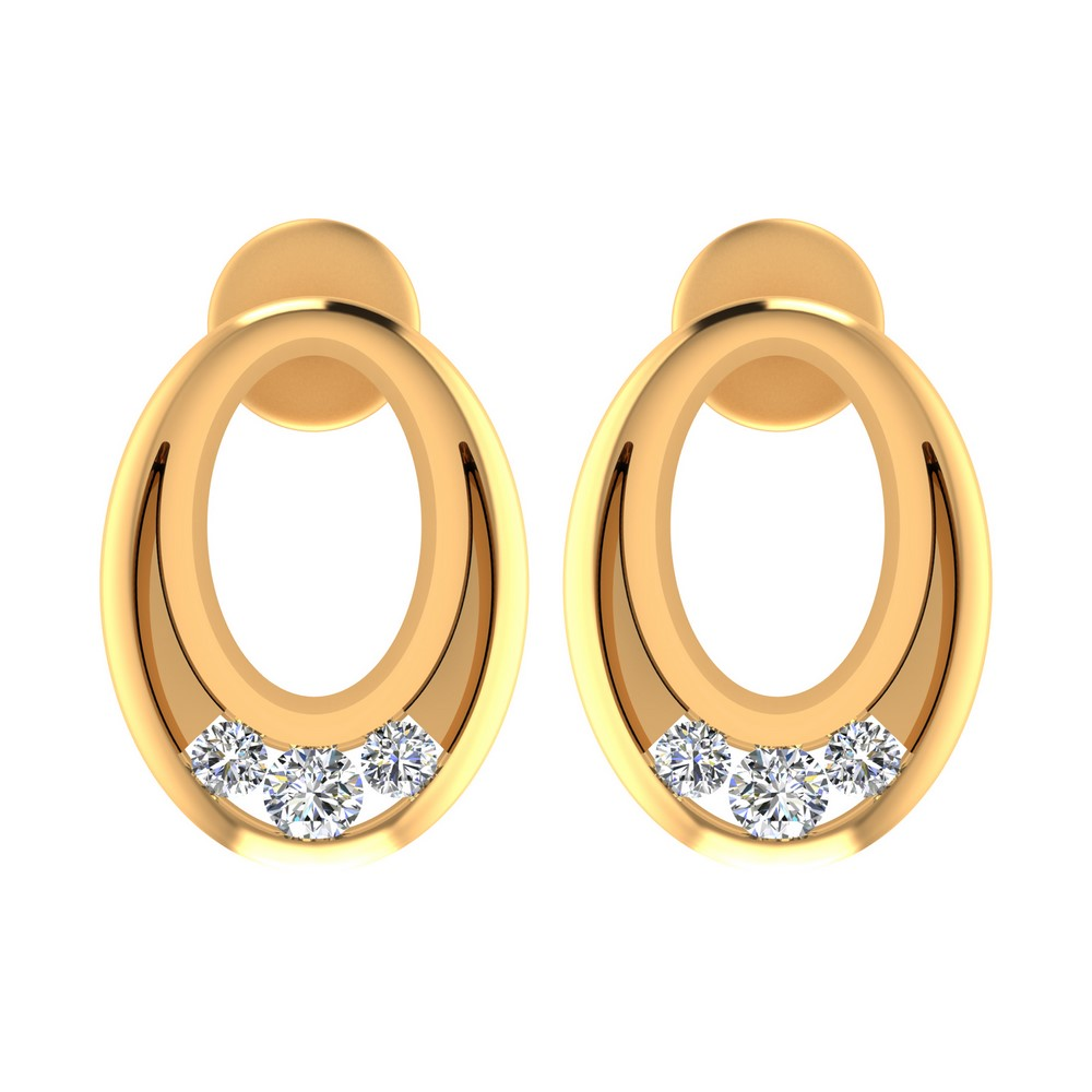 14k Yellow Gold 0.18 Cts Certified Diamond Jewelry Stud Brand New Earring Gift