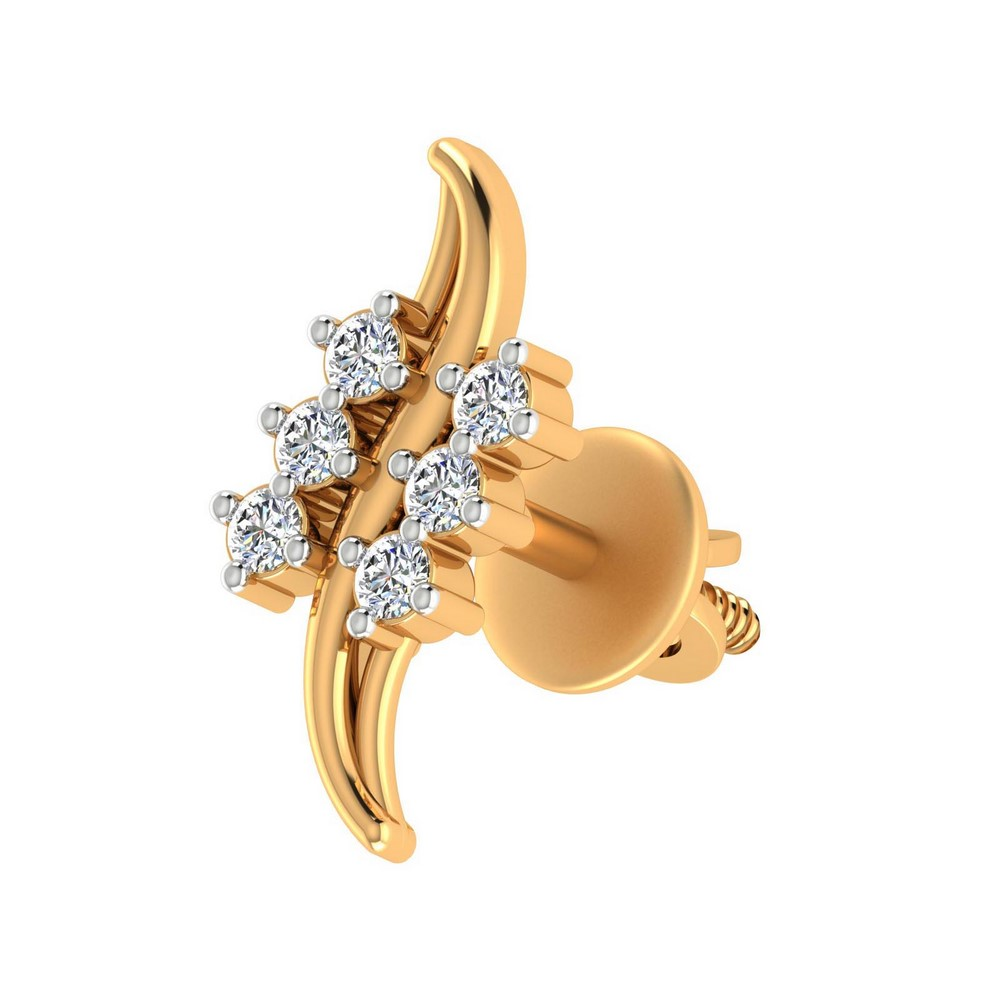 0.18 Cts Certified Diamond 14k Yellow Real Solid Gold Jewelry Stud Earring Party