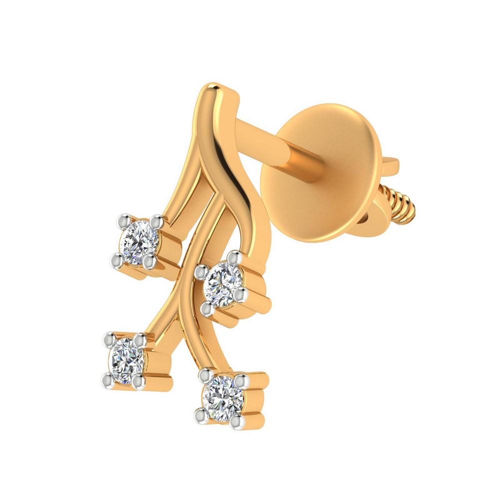 0.12Ct Certified Diamond 14k Yellow Gold Jewelry Stud Earring Birthday Giftable