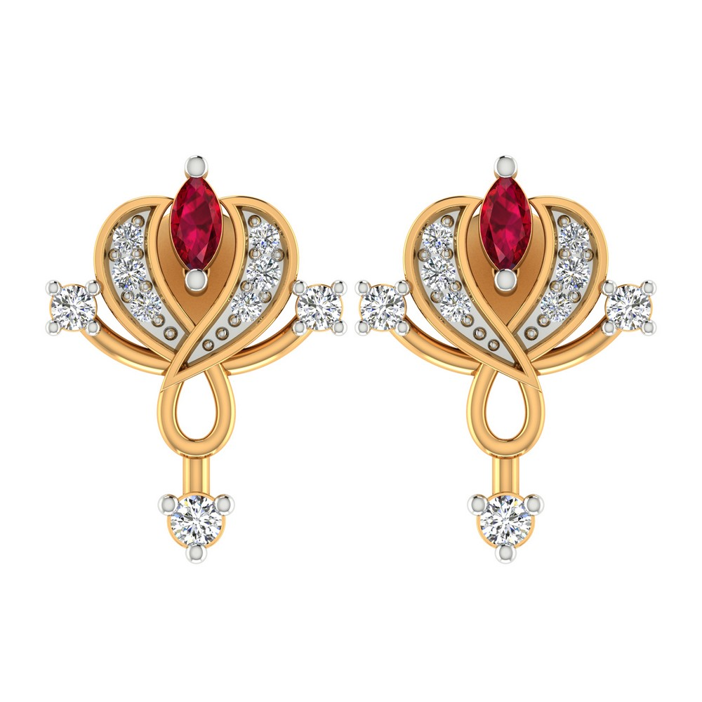 0.12 Cts Certified Diamond 14k Yellow Gold Jewelry Drop Natural Ruby Earring