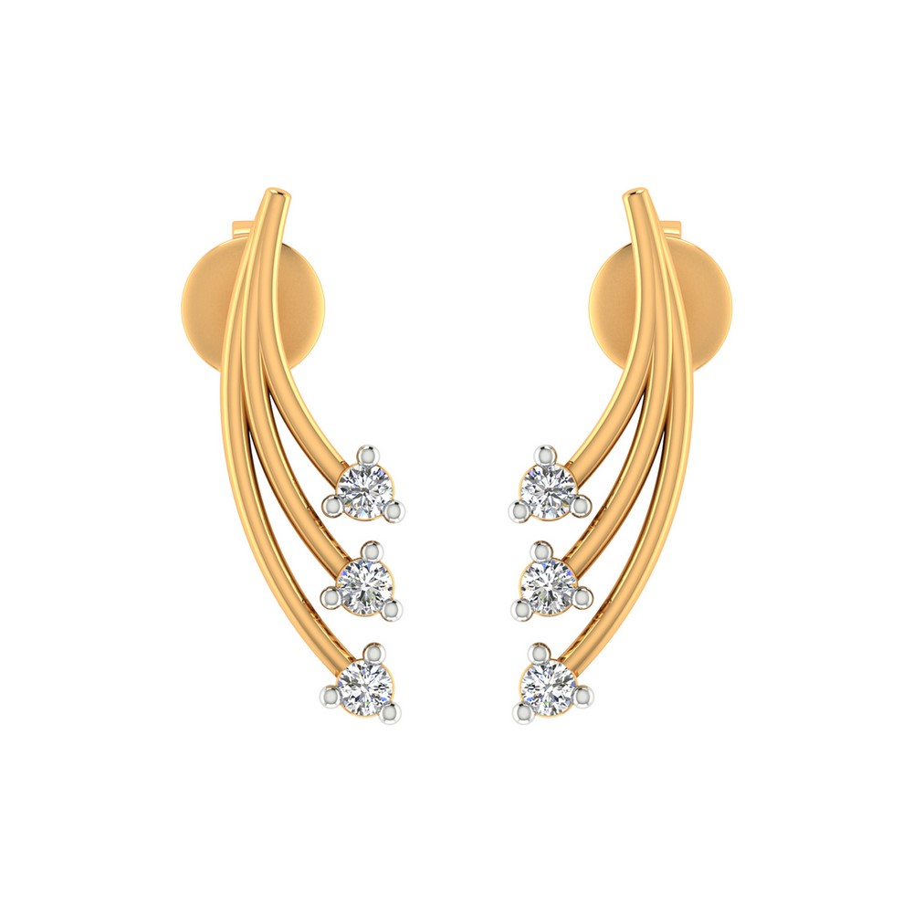 0.11Ct Certified Diamond 14k Yellow Solid Gold Jewelry Drop Fashionable Earring