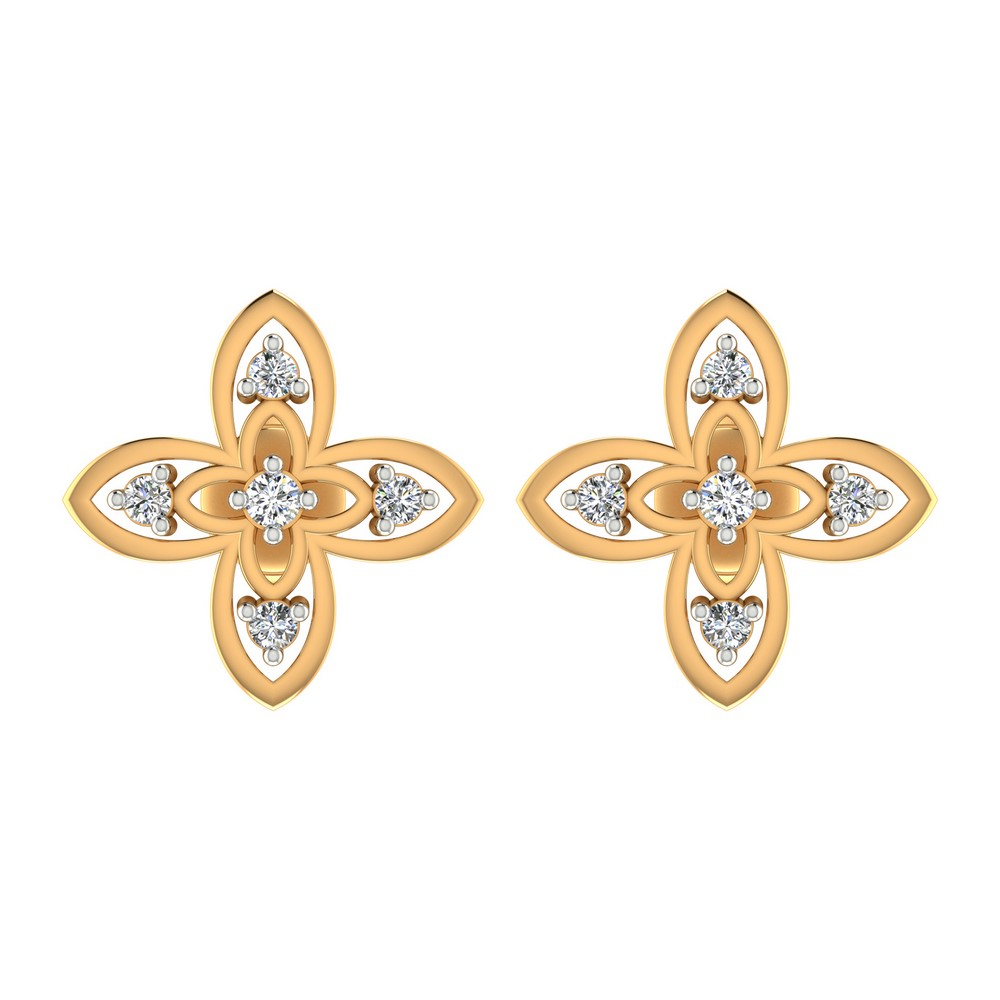 0.11 Cts Certified IJ/SI Diamond 14k Yellow Real Gold Jewelry Stud Earring Party