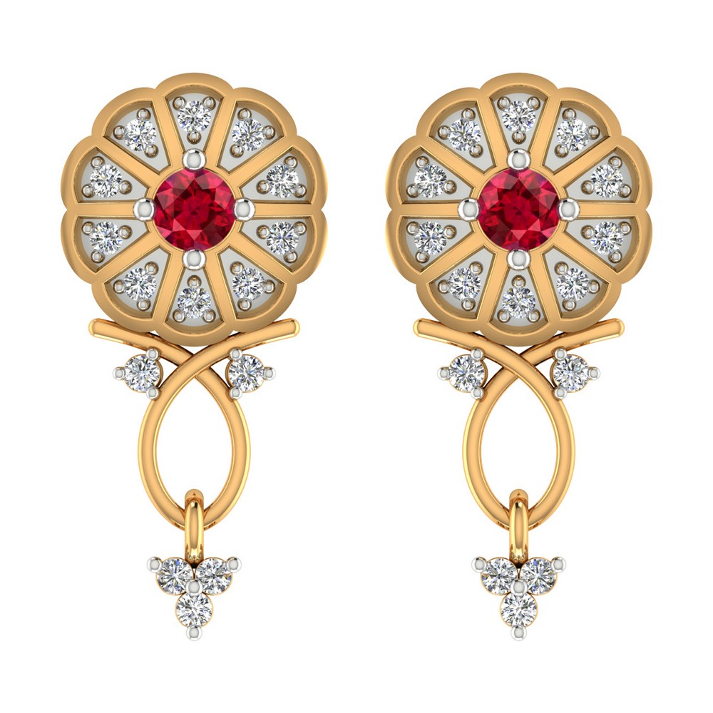 0.26 Cts Certified Diamond 14k Yellow Gold Jewelry Drop Natural Ruby Earring