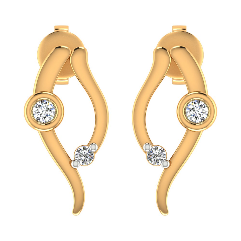 0.05 Cts Certified IJ/SI Diamond 14k Yellow Hallmarked Gold Jewelry Stud Earring