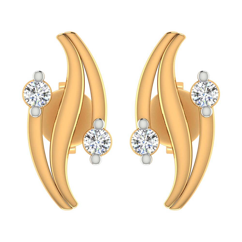 0.10Ct Certified 100% Natural Diamond 14k Yellow Solid Gold Jewelry Stud Earring