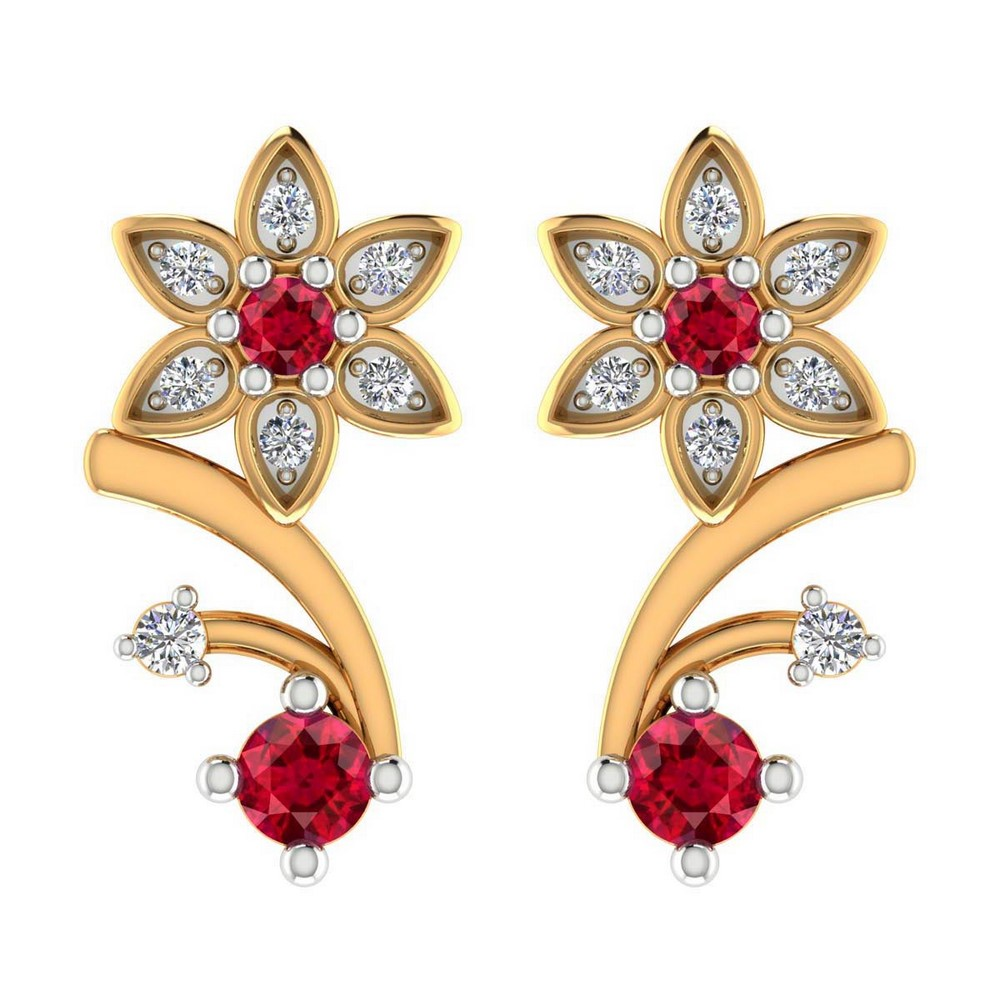 0.08 Ct Certified Diamond 14k Yellow Gold Jewelry Stud Ruby Stone Earring Gift