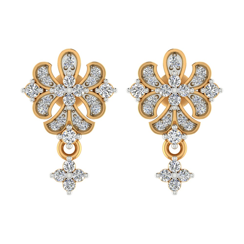 0.37 Cts Certified IJ/SI Real Diamond 14k Yellow Gold Jewelry Drop Earring Party