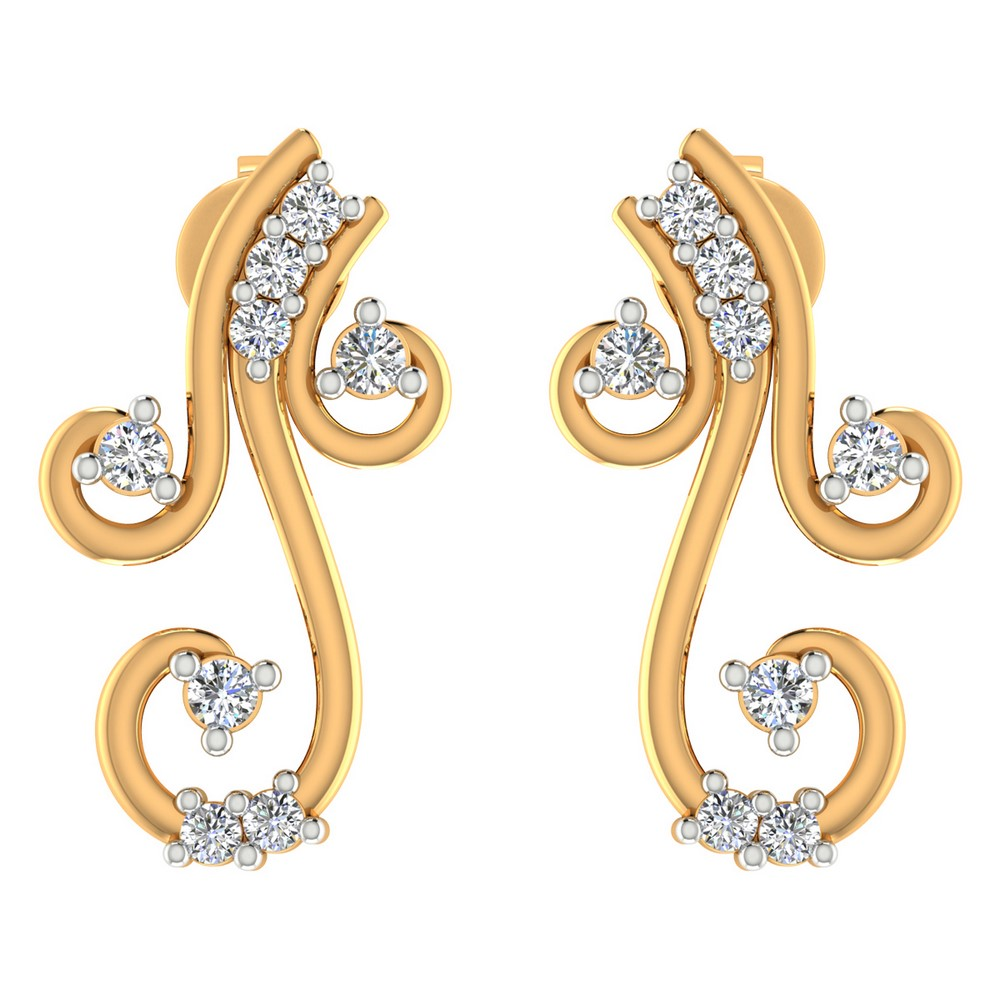 0.19 Cts Certified Diamond 14k Yellow Real Gold Jewelry Drop Designer Earring