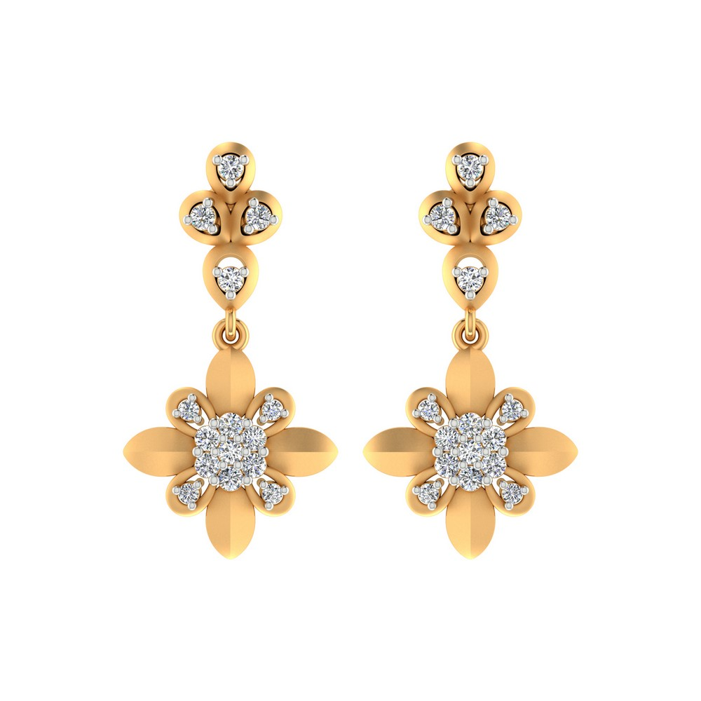 0.42 Cts Certified Natural Diamond 14k Yellow Gold Jewelry Dangle Earring Party