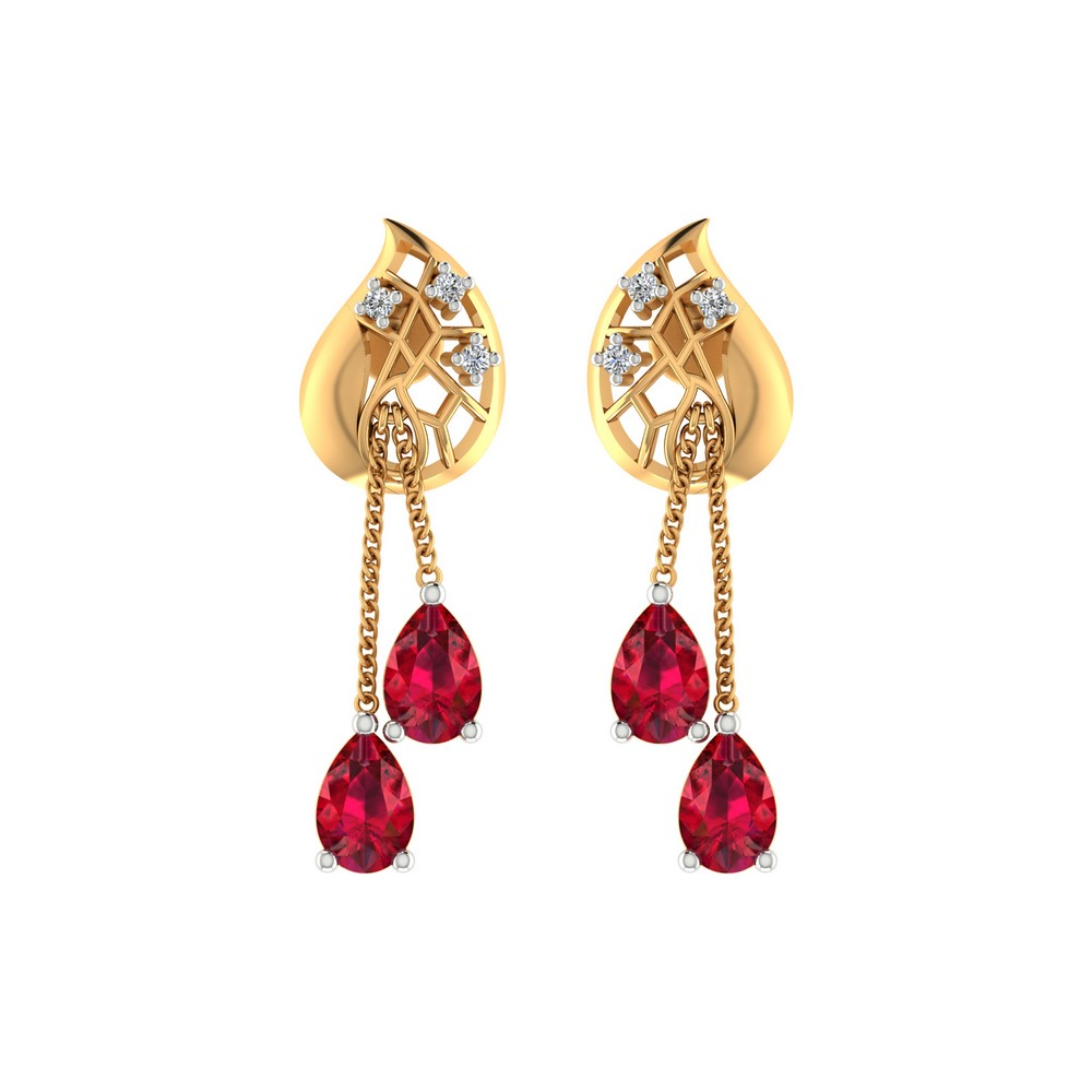 0.06 Ct Certified Diamond Ruby Gemstone 14k Yellow Real Gold Drop Earring