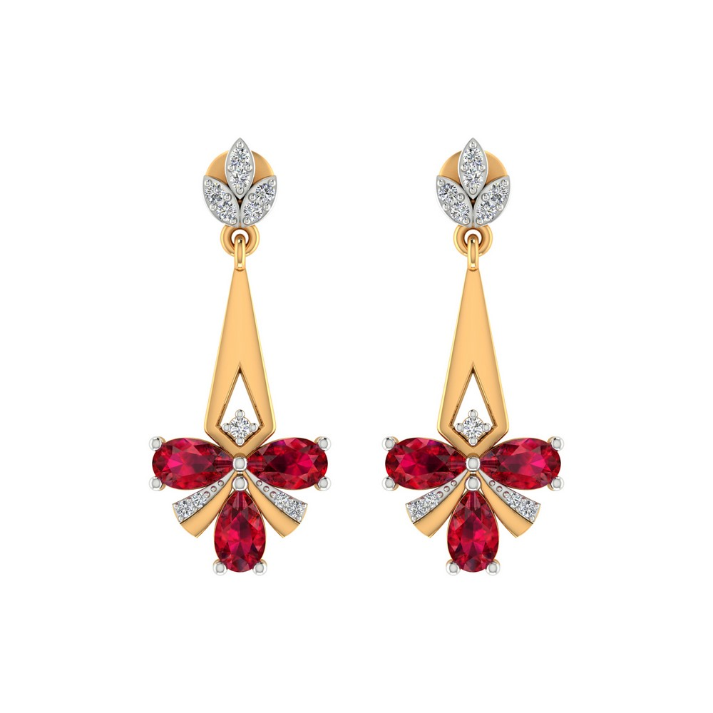 0.16 Cts Certified Diamond 14k Yellow Gold Jewelry Ruby Drop Dangle Earring Gift