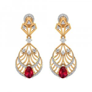 0.49Ct Certified IJ/SI Diamond Blood Ruby 14k Yellow Gold Drop Dangle Earring
