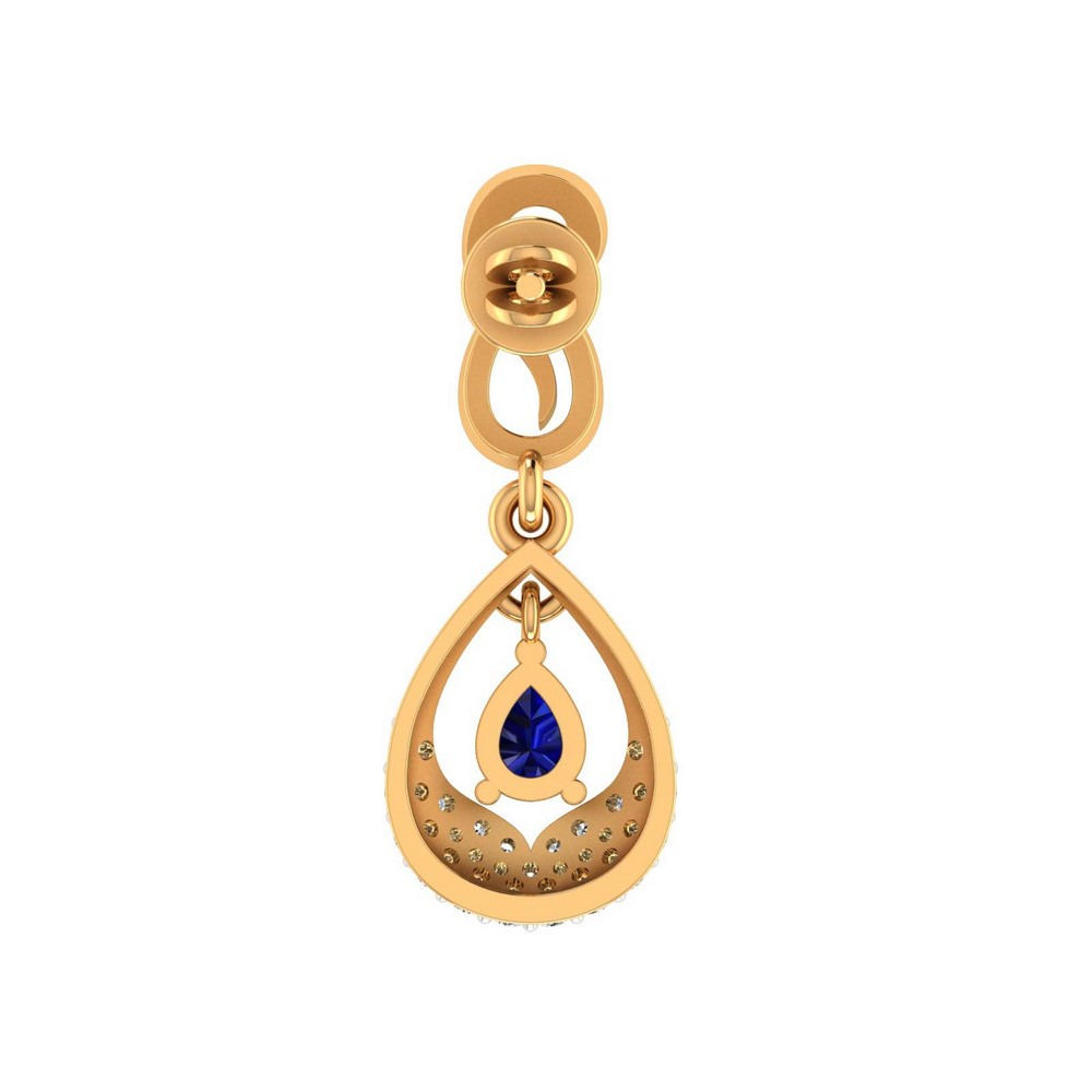 0.29Ct Certified Diamond Natural Blue Sapphire 14k Yellow Gold Drop Earring Gift