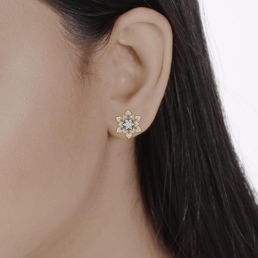 0.96Cts Certified IJ/SI Diamond 14k Yellow Solid Gold Stud Designer Earring Gift