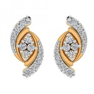 14k Yellow Gold 0.29Cts Certified Natural Diamond Stud Elegant Earring Giftable