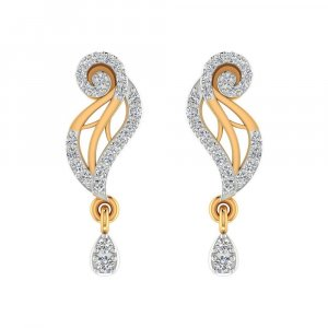 14k Yellow Gold 0.25 Cts Certified IJ/SI Diamond Drop Dangle Earring Partywear