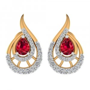 0.24Ct Certified Diamond Natural Ruby 14k Yellow Hallmarked Gold Drop Earring
