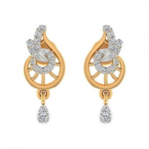 14k Yellow Solid Gold 0.20 Cts Certified Diamond Drop Dangle Earring Giftable