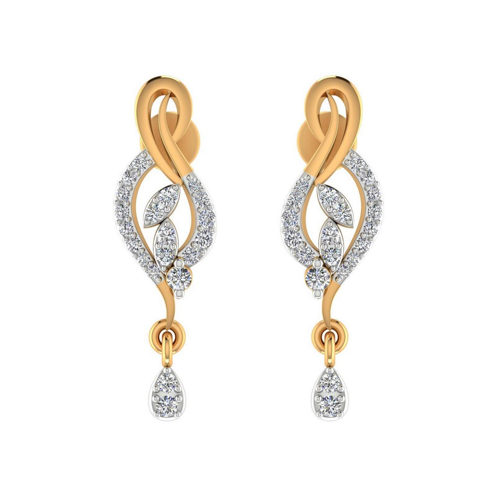 0.28 Cts Certified 100% Genuine Diamond 14k Yellow Gold Jewelry Drop Earring