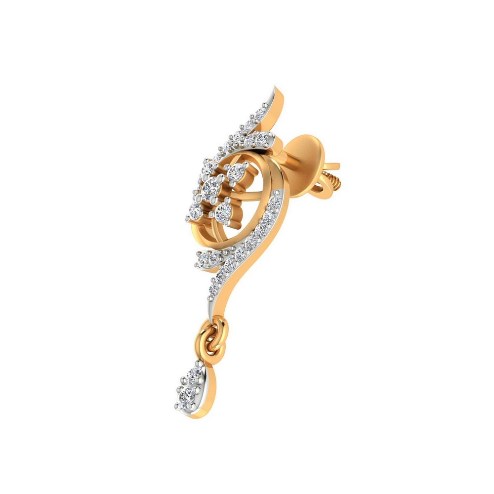 0.49 Cts Certified Diamond 14k Yellow Real Gold Jewelry Floral Stud Earring Gift
