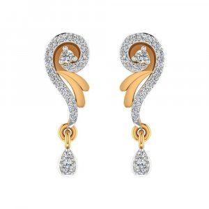 14k Yellow Real Gold 0.26 Cts Certified IJ/SI Diamond Drop Dangle Earring Gift