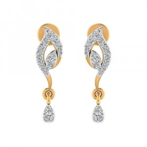 14k Yellow Gold 0.26 Cts Certified IJ/SI Diamond Drop Dangle Earring Party