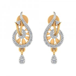 14k Yellow Hallmark Gold 0.29Cts Certified Diamond Drop Dangle Earring Wedding